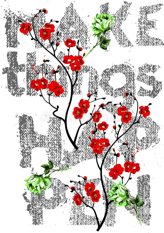 Dekorativt gör saker att hända färgrika blommor och med grov bomullstvilltypografidesignen för t-skjorta arkivfoton
