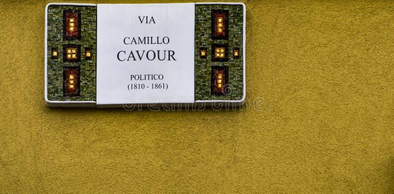 Dekorativt gatatecken från Ravenna, Italien royaltyfri fotografi
