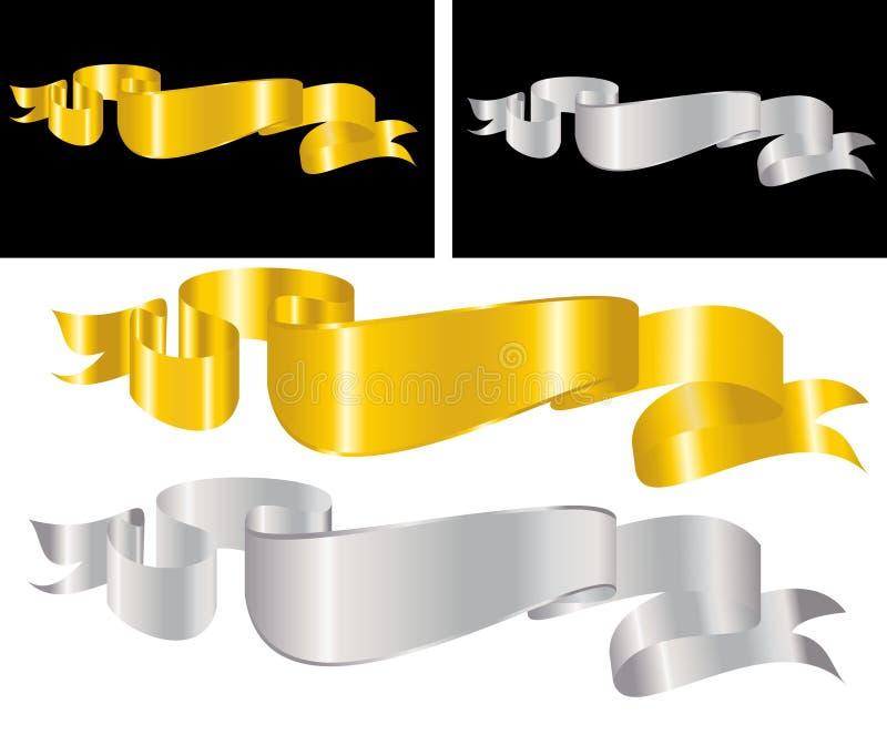 dekorativt guld- band stock illustrationer