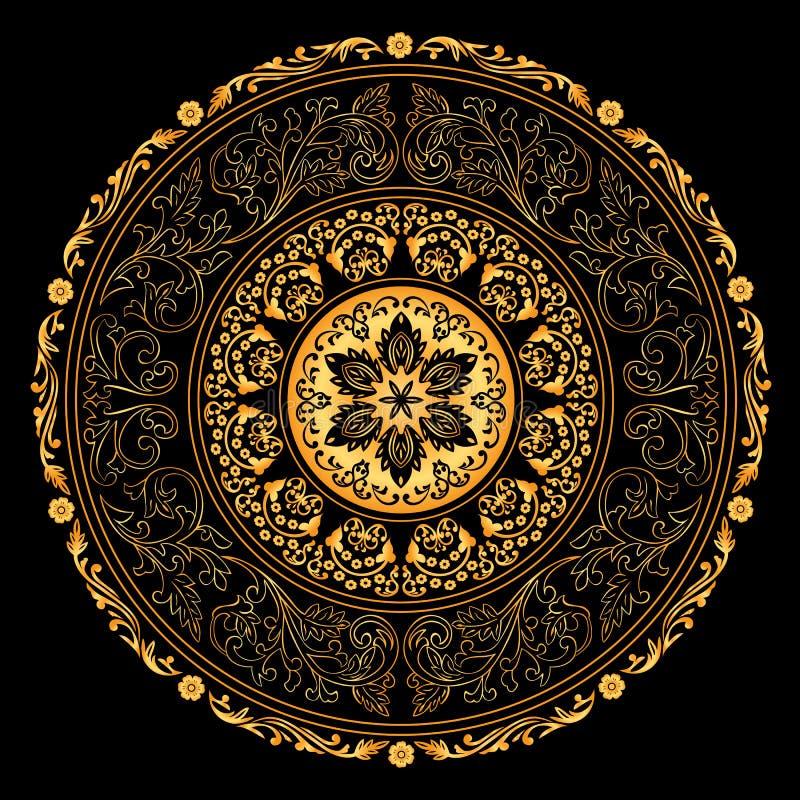 Dekorativt guld- inramar med tappningrundan mönstrar på svart stock illustrationer