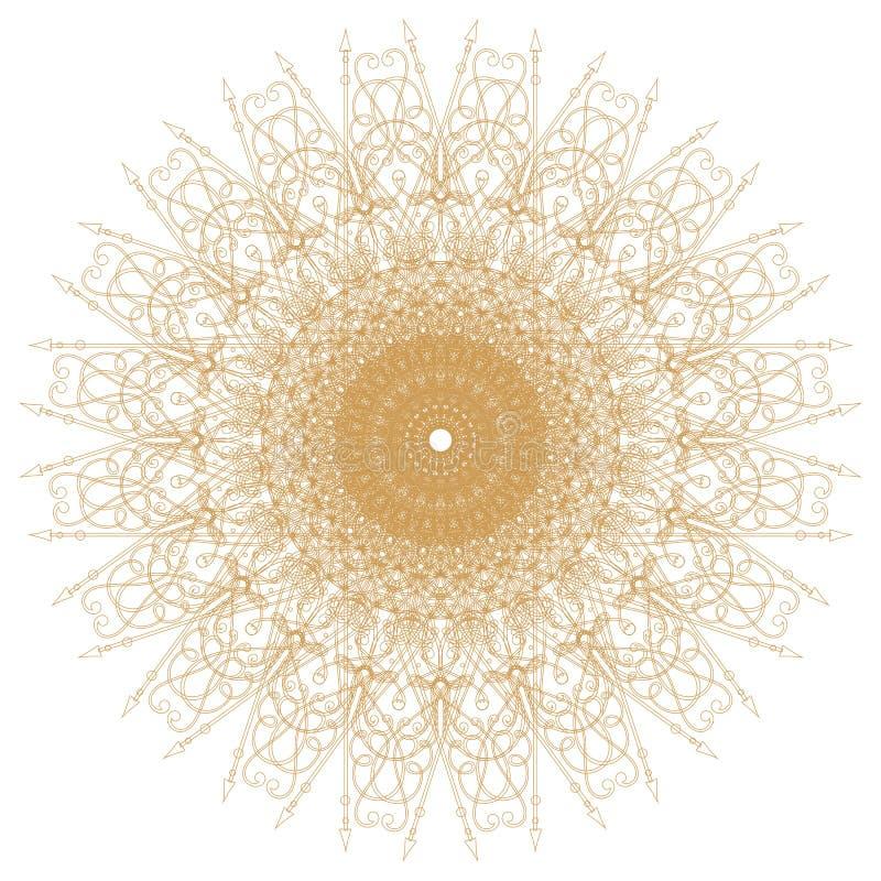 Dekorativt guld- mönstrar på vit vektor illustrationer