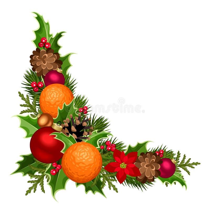 Dekorativt hörn för jul med bollar, järnek, julstjärnan, kottar och apelsiner också vektor för coreldrawillustration royaltyfri illustrationer