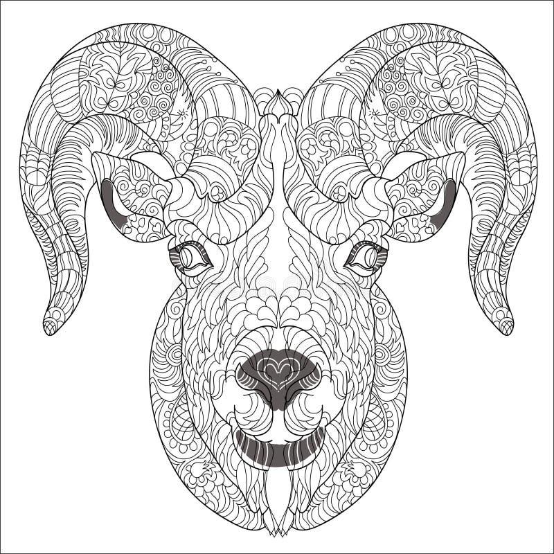 Dekorativt huvud av geten eller RAM vektor illustrationer