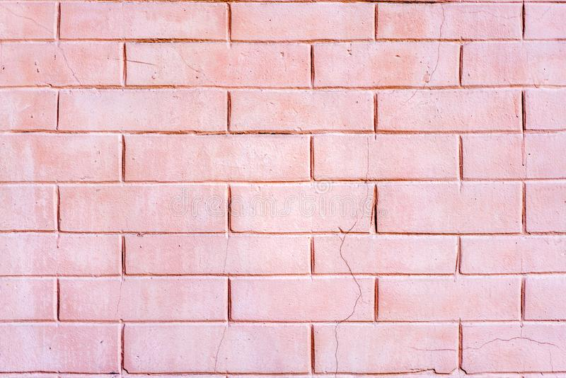 Dekorativt imitera för vägg som är ljust - rosa tegelsten royaltyfri fotografi