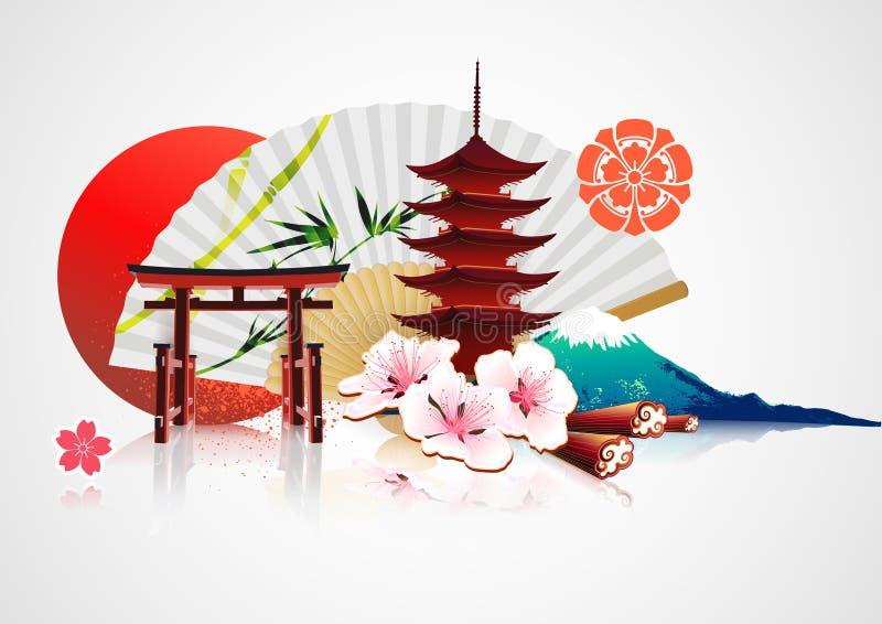 dekorativt japanskt traditionellt för bakgrund royaltyfri illustrationer