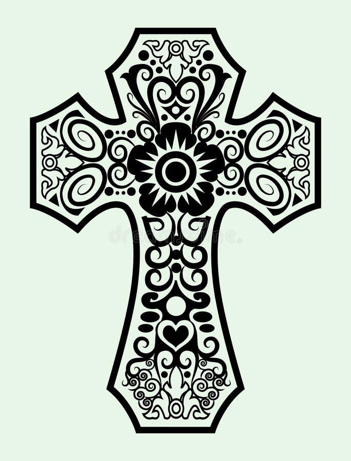 dekorativt kors vektor illustrationer