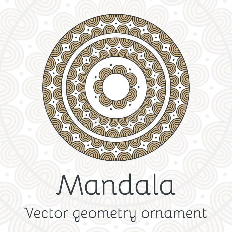 Dekorativt kort för vektor med den etniska mandalaen Dekorativ bakgrund för tappning stock illustrationer