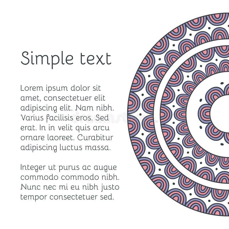 Dekorativt kort för vektor med den etniska mandalaen Dekorativ bakgrund för tappning royaltyfri illustrationer