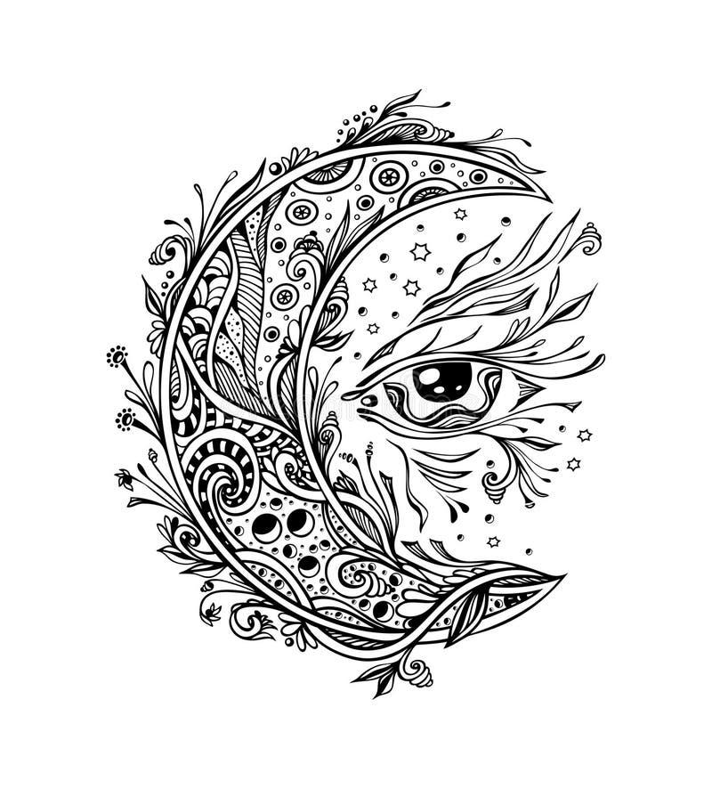 Dekorativt måne eller halvmånformig med ögonsvart på vit stock illustrationer