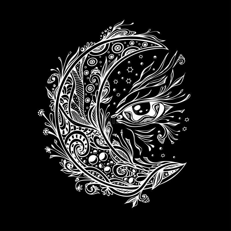 Dekorativt måne eller halvmånformig med ögonvit på svart stock illustrationer