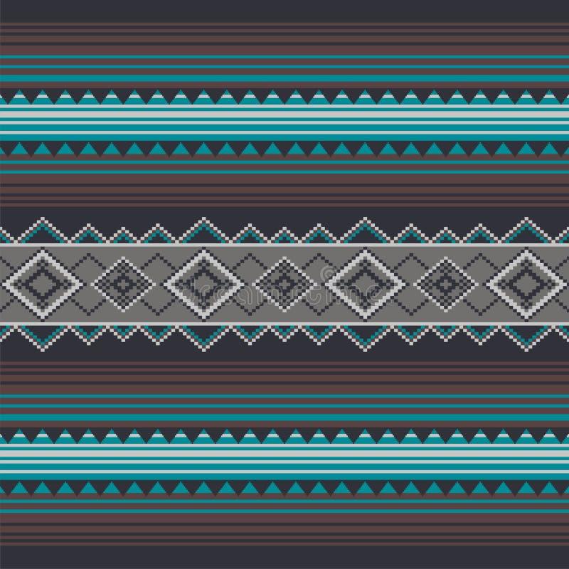 Dekorativt mönstra för att sticka och broderi Indianer Navajo, stam- etniskt tyg vektor illustrationer