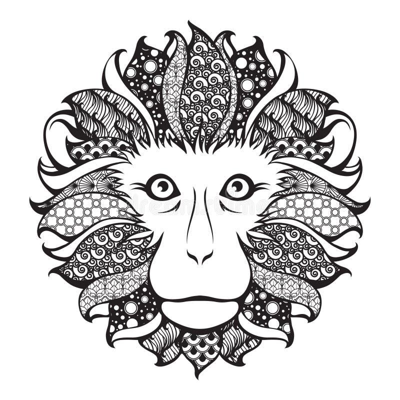 Dekorativt mönstrat huvud av apan stock illustrationer
