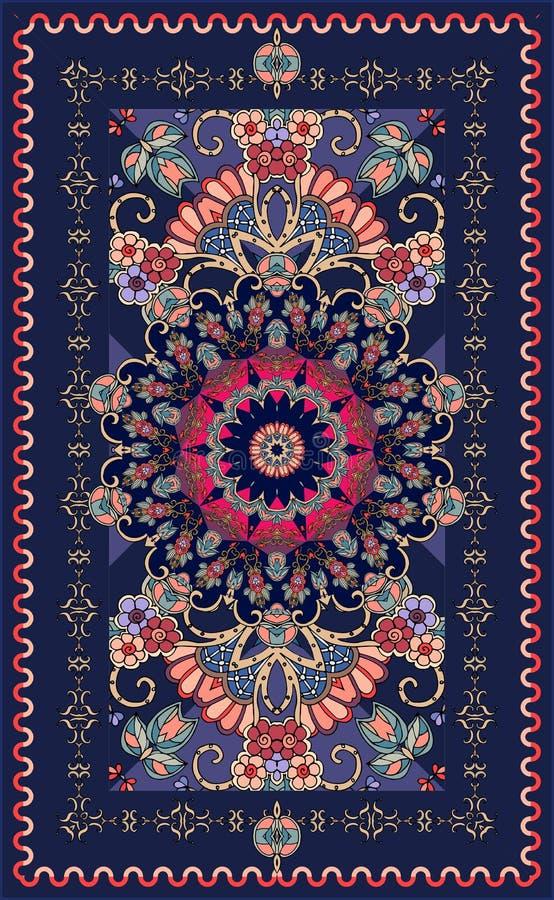 Dekorativt mörker - blå filt med den härliga rosetten och den blom- modellen royaltyfri illustrationer