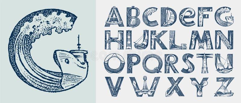 Dekorativt marint alfabet i forntida stil Vågor och hav med bokstäver Gammalt teckensnitt för etiketter Beteckning stock illustrationer