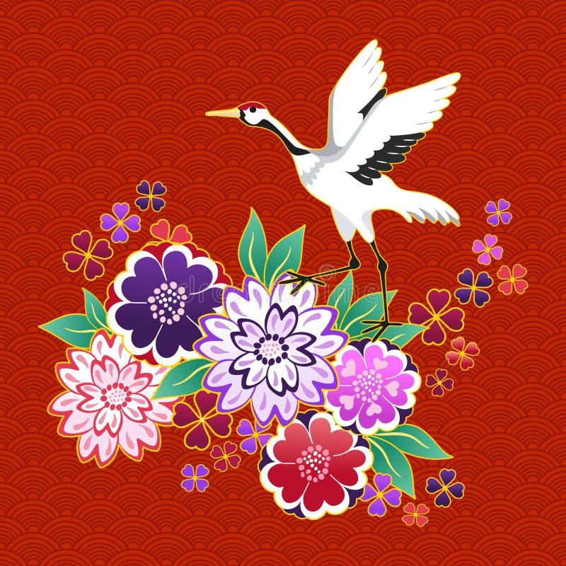 Dekorativt motiv för kimono med blommor och kranen stock illustrationer
