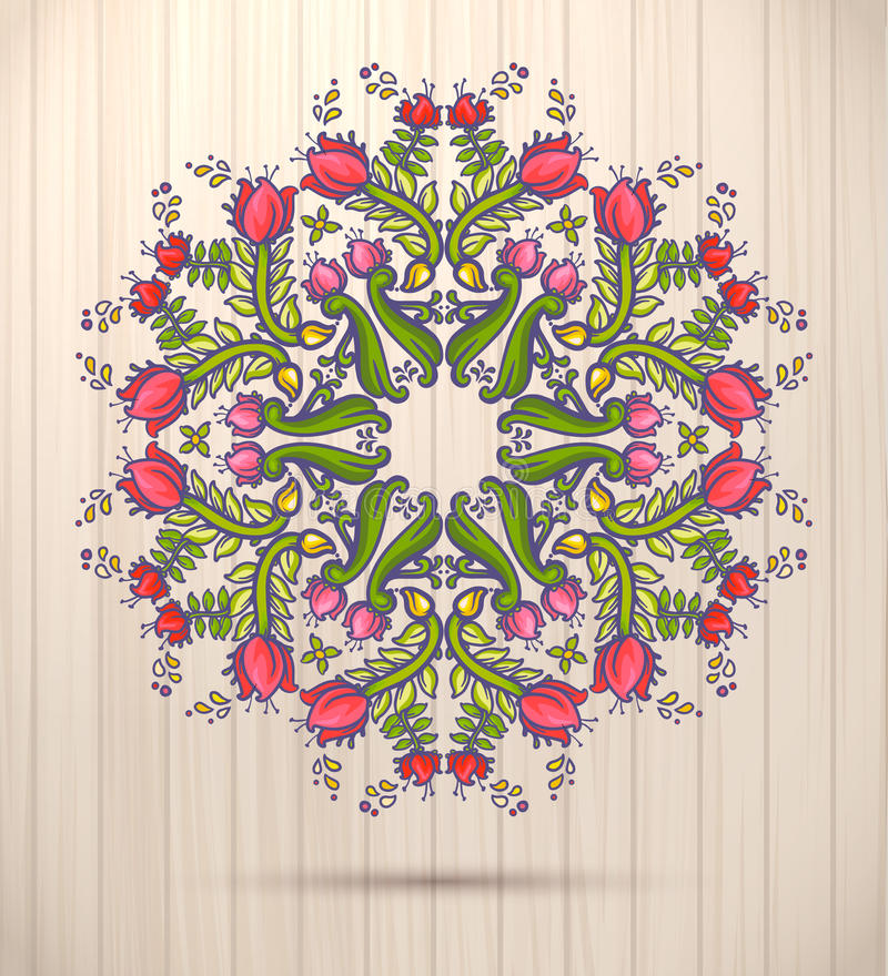 Dekorativt runt blom- snör åt den kalejdoskopiska vårmodellen, mandala royaltyfri illustrationer