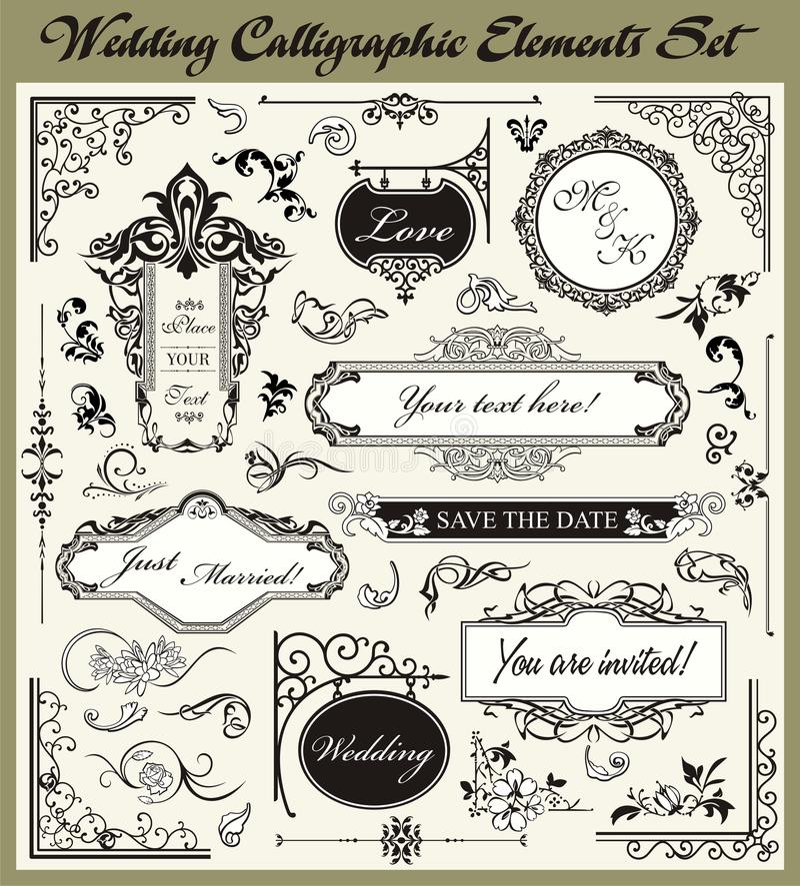 dekorativt setbröllop för calligraphic designer stock illustrationer
