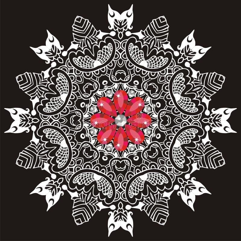 Dekorativt snöra åt modellen för att gifta sig inbjudningar och hälsningkort Traditionell vit, röd dekor på svart bakgrund vektor illustrationer