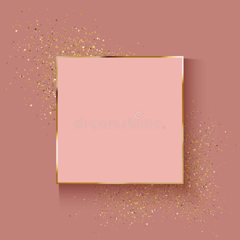 Dekorativt steg guld- bakgrund med blänker effekt stock illustrationer