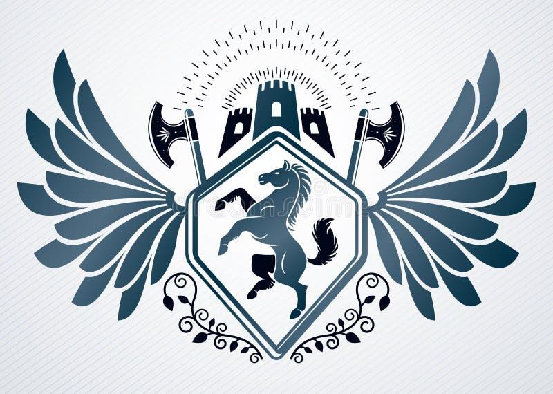 Dekorativt tappningemblem för heraldisk vapensköld, vektorillustra royaltyfri illustrationer