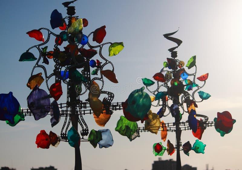 Dekorativt träd med glass decorationes fotografering för bildbyråer