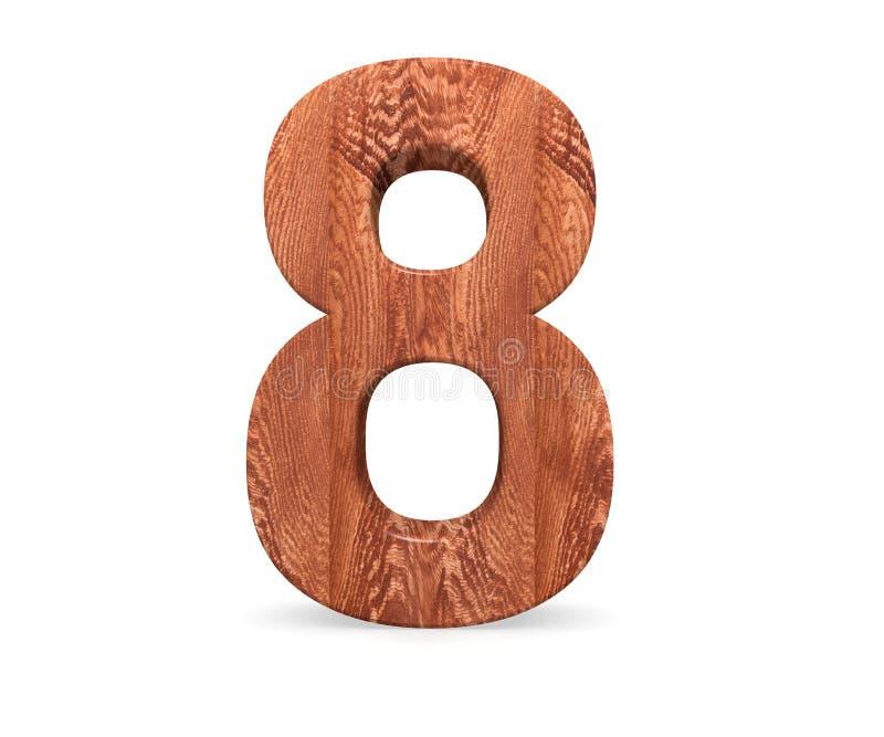 Dekorativt träsymbol för alfabetsiffra åtta - 8 3d som fäster den lätta redigerande mappillustrationen ihop, inkluderade banafram royaltyfri illustrationer