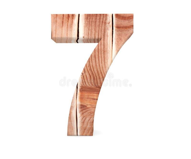 Dekorativt träsymbol för alfabetsiffra sju - 7 från träplankor 3d som fäster den lätta redigerande mappillustrationen ihop, inklu royaltyfri illustrationer