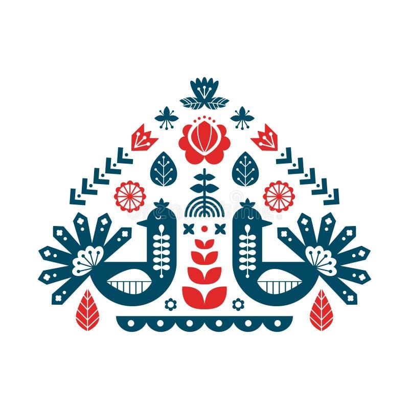 Dekorativt tryck med påfågeln och blom- beståndsdelar Nordboprydnader, folkkonstmodell stock illustrationer