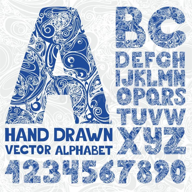 Dekorativt utsmyckat alfabet Nummer för handteckningsvektor fotografering för bildbyråer