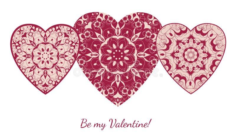 Dekorativt valentinhälsningkort med blom- utsmyckade hjärtor royaltyfri illustrationer