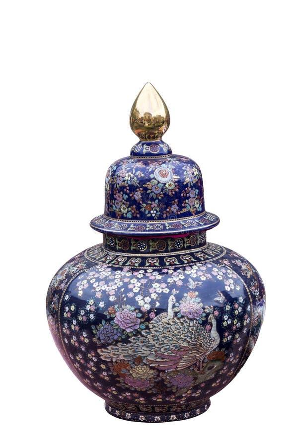 Dekorerad blå keramisk kopp royaltyfri fotografi