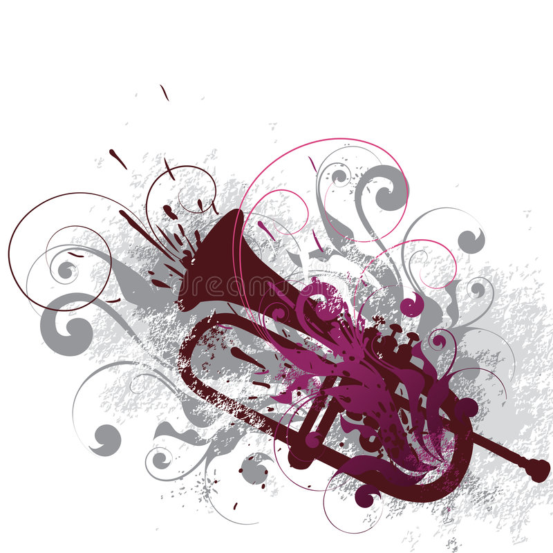 dekorerad horn royaltyfri illustrationer