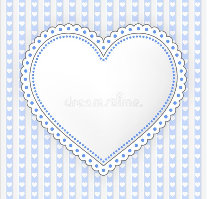 Dekorerad illustration för blått-grå färger hjärtaetikett vektor illustrationer