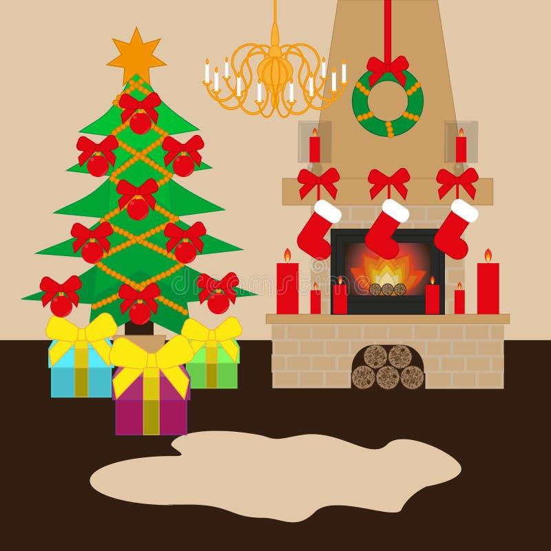 Dekorerad jul hyr rum med den xmas-tr?det och spisen Plan stilvektorillustration vektor illustrationer