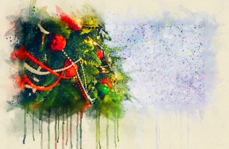 Dekorerad julgranillustration Konfettier på försiktig blå bakgrund, guld- stjärnor, blänker, glitter, dekoren för det nya året, s stock illustrationer