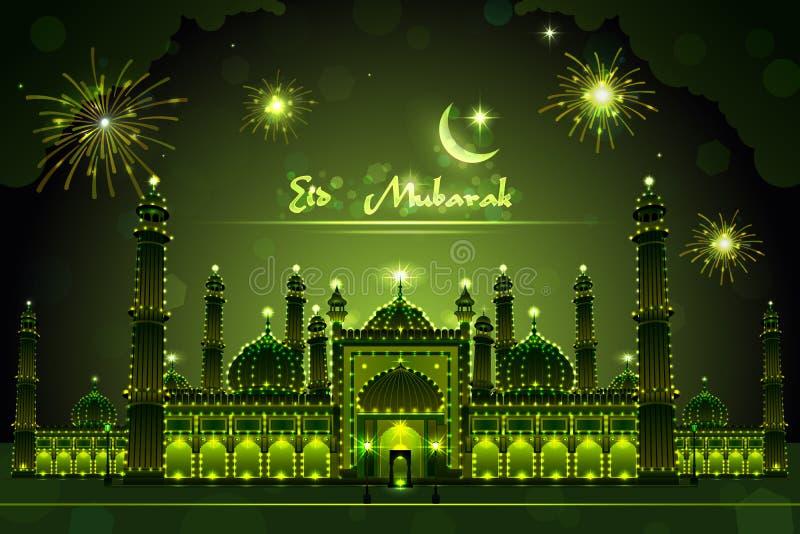 Dekorerad moské på Eid Mubarak stock illustrationer