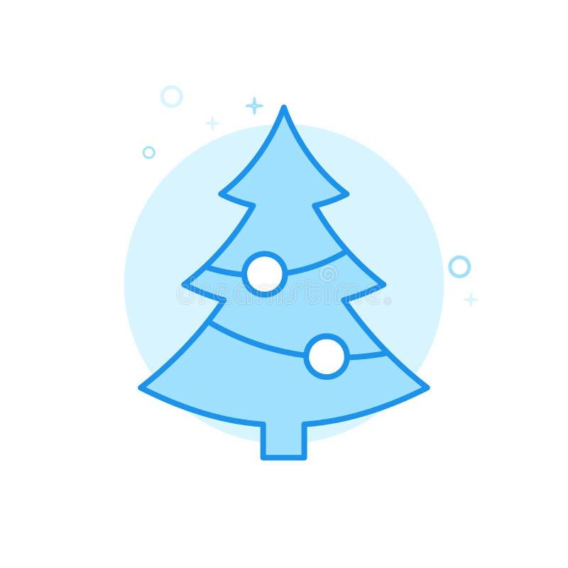 Dekorerad plan vektorsymbol för julgran, symbol, Pictogram, tecken Ljust - blå monokrom design Redigerbar slaglängd vektor illustrationer