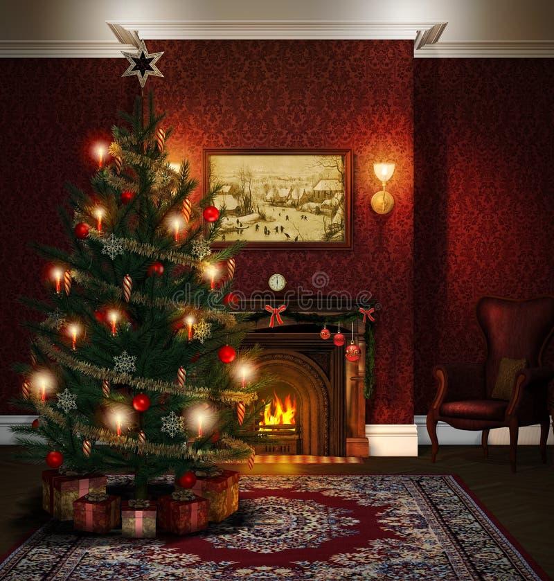 Dekorerad vardagsrum för julgran spis vektor illustrationer