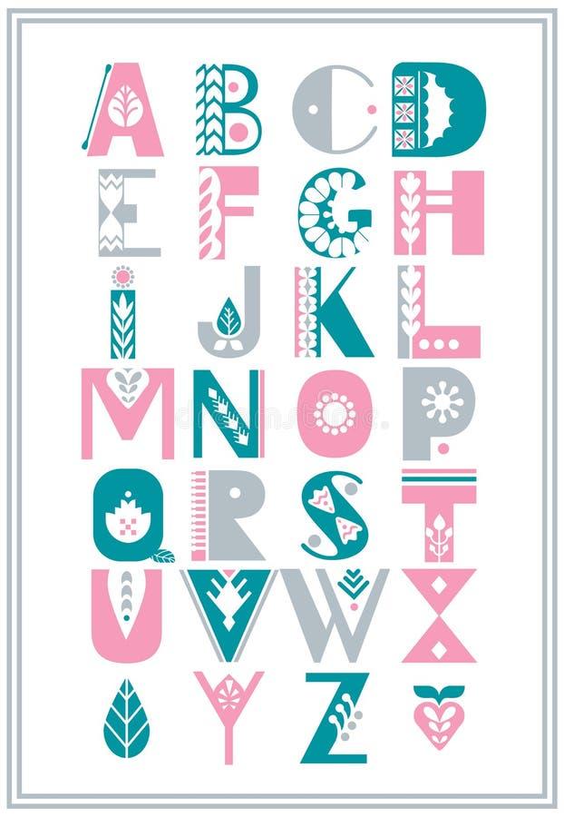 Dekorerade det folk alfabetet för vektorn med nordiska folk prydnader Skärmstilsort stock illustrationer
