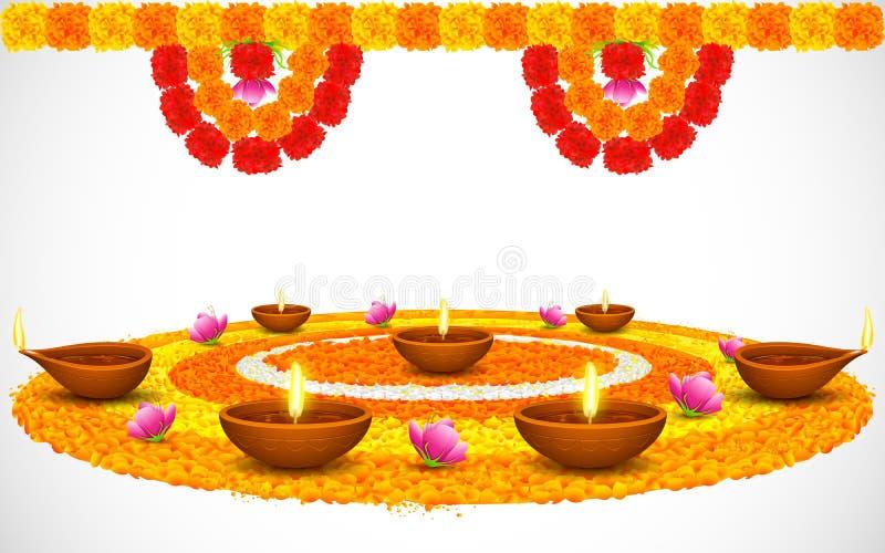 Dekorerade Diwali Diya på blomman Rangoli royaltyfri illustrationer