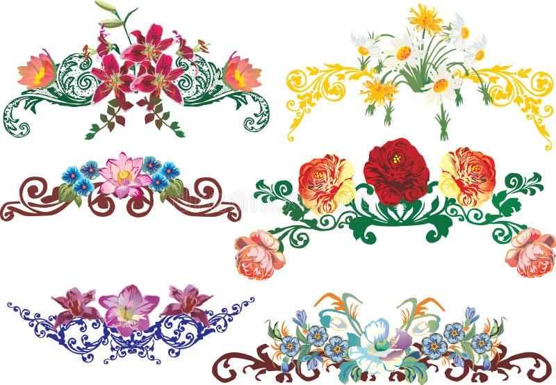 dekorerade element blommar olor stock illustrationer
