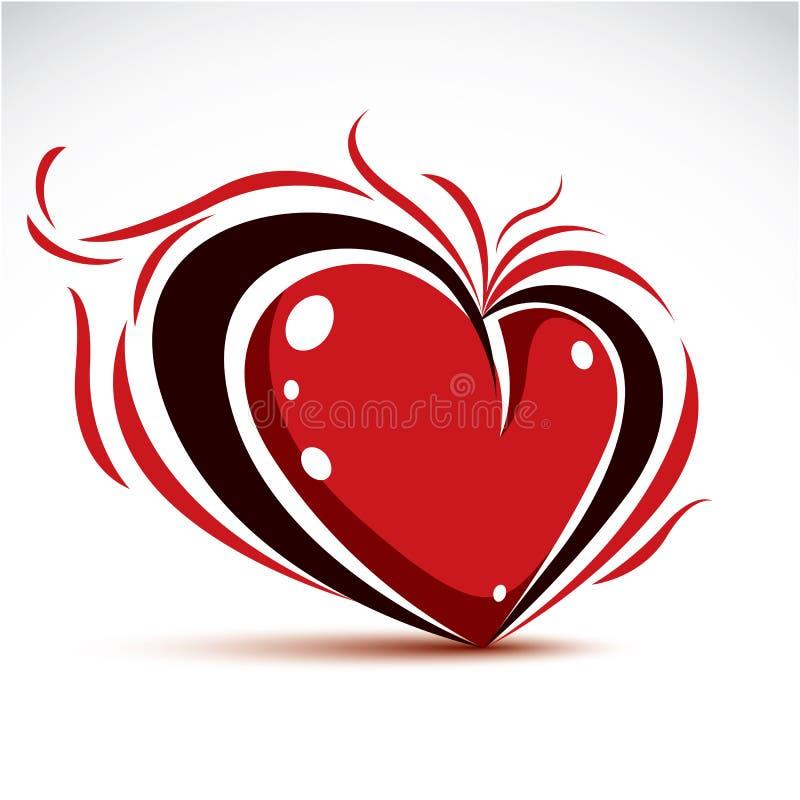 Dekorerar symboliskt objekt för förälskelse och för romans, dimensionell röd hjärta vektor illustrationer