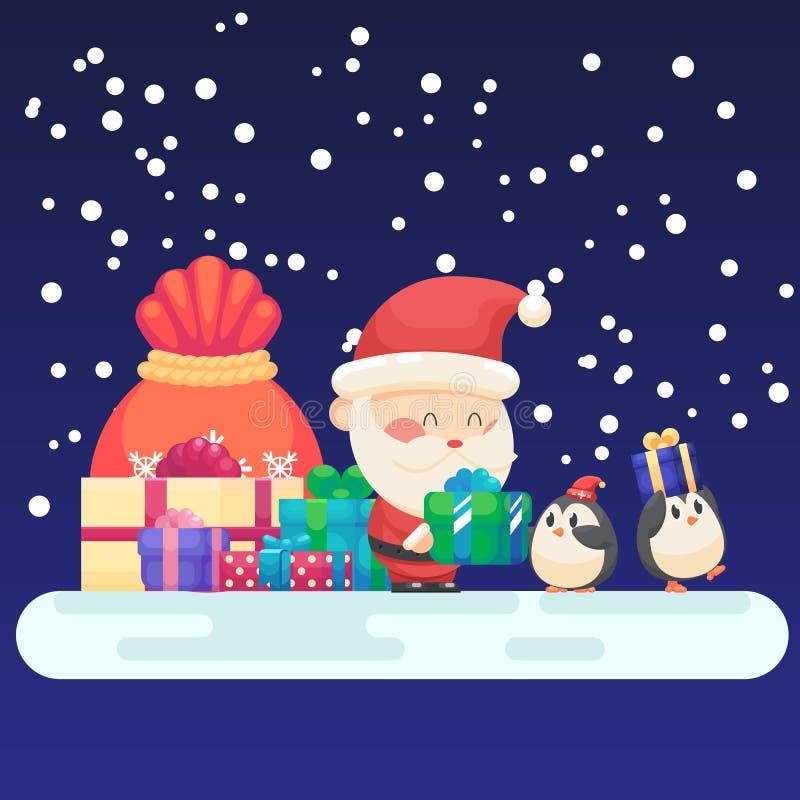 Dekorerat kort för nytt år för jul Den gulliga jultomten och den lilla roliga lyckliga pingvinet med gåvor framlägger den färgrik vektor illustrationer