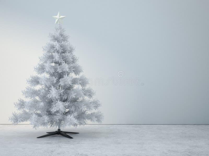 Dekorerat träd för vit jul i vitt rum royaltyfri illustrationer
