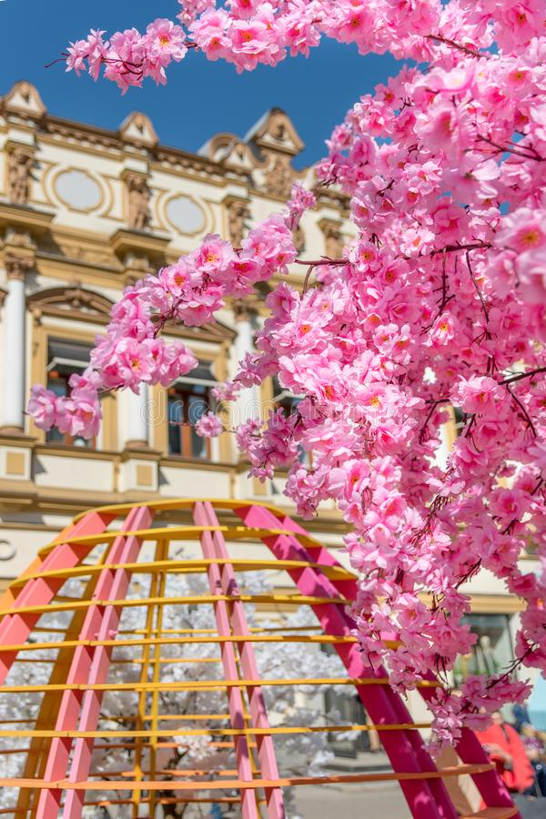 Dekorować ulicy Moskwa zdjęcia royalty free