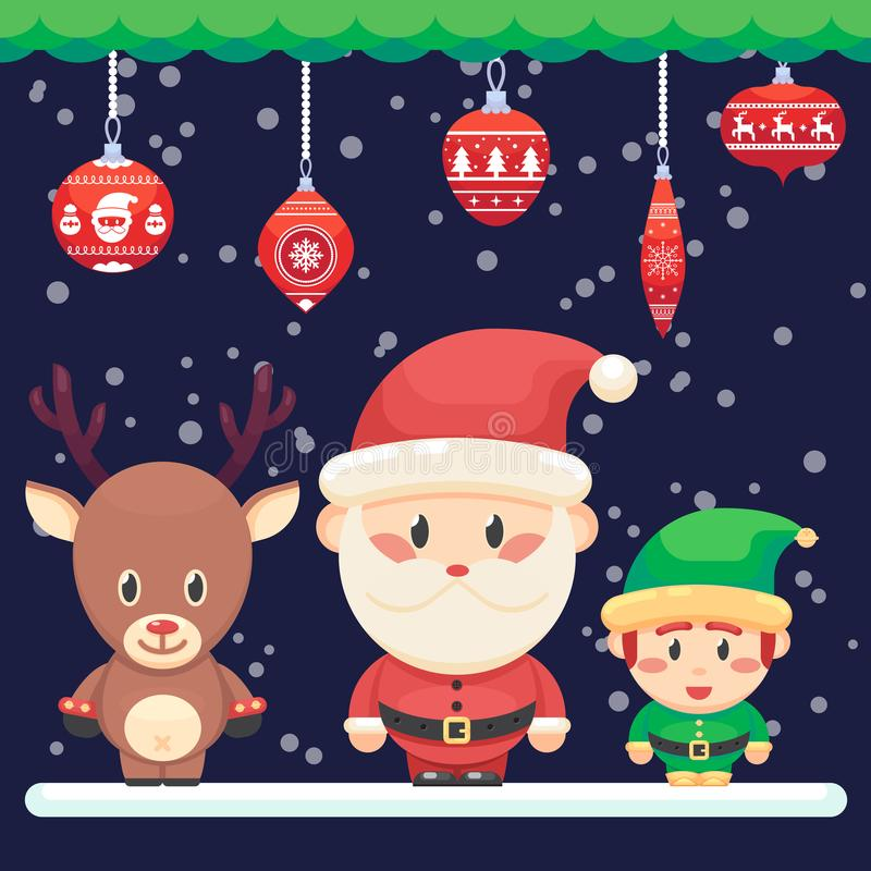 Dekorująca boże narodzenie nowego roku karta Śliczny Santa i mały śmieszny elfa rogacz z czerwonego nosa Wektorową kolorową ilust ilustracja wektor