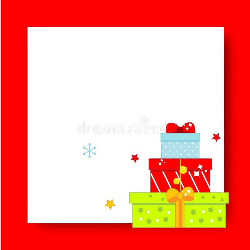 Dekorująca boże narodzenie rama Nowego Roku pusty tło z prezentów pudełkami royalty ilustracja