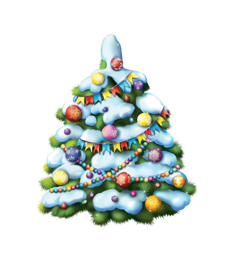 Dekorujący Christmass drzewo. Śnieg zakrywający drzewo ilustracja wektor