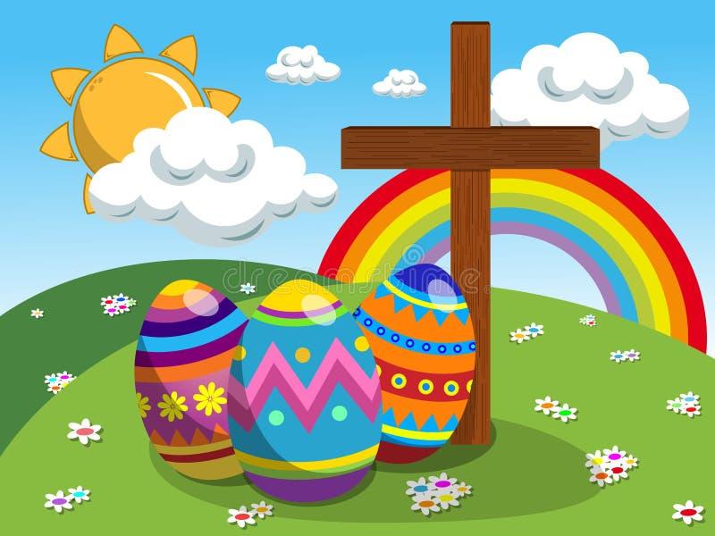 Dekorujący chrześcijanina krzyż przy Easter łąką i jajka royalty ilustracja