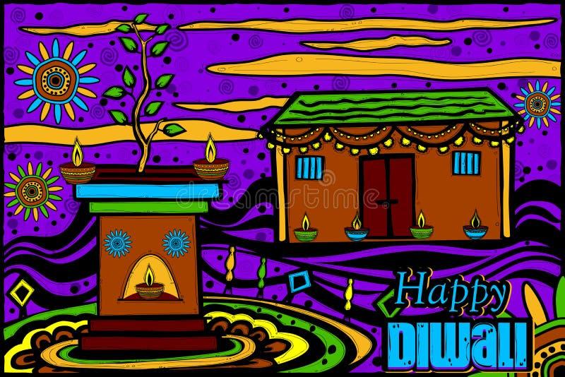 Dekorujący dom dla Diwali ilustracji